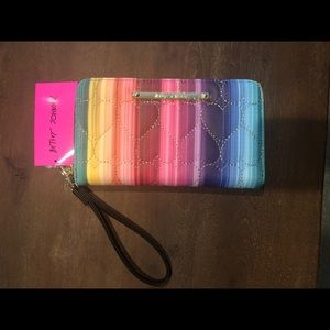 Betsey Johnson Rainbow Quilted Hearts Wristlet